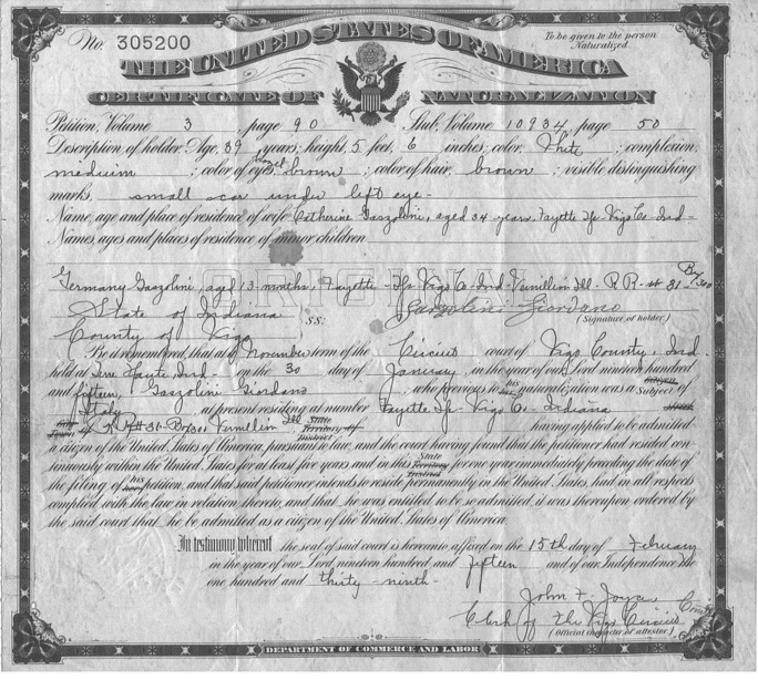 Indiana Naturalization & Citizenship Records